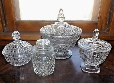 Set Of 4 Elegant Glass Candy Dishes-Candy Buffet, Wedding/Holiday/Party