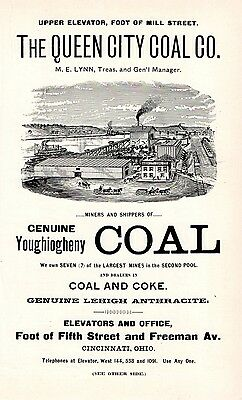 1899 Queen City Coal Co, Cincinnati Ohio Two-Sided Lithograph Advertising Flyer