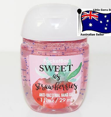 BATH & BODY WORKS 1 * Sweet As Strawberries * Pocketbac HAND GEL SANITIZER