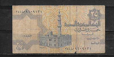 EGYPT #57e 2004 25 PIASTRES GOOD CIRC CURRENCY BANKNOTE BILL NOTE PAPER MONEY