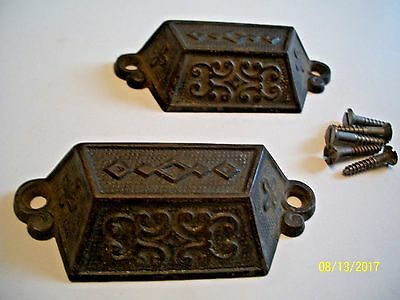 Great Pair Of Fancy, Antique Cast Iron Drawer- Bin Pulls, With Mounting Screws