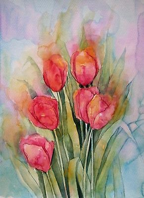 Angie Livingstone Art Print from my original painting - Tulips