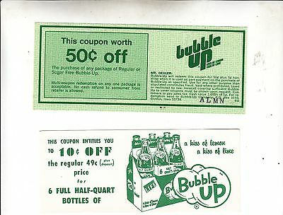 BUBBLE UP COUPONS one 10c off one 50c off. NOS  MINT