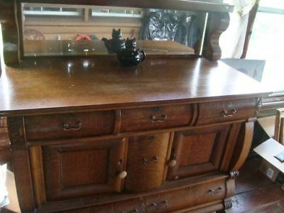 Antique 1920 Oak Sideboard Buffet With Beveled Mirror Tiger Oak