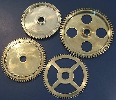 Clock Parts - Large Polished Brass Gears Cogs - Steampunk Modelers Art Craft -
