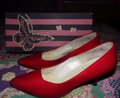 Vintage 1950s/60s-Marilyn Red Pinup Dress Shoes Pumps/ Original Butterfly Box 9?