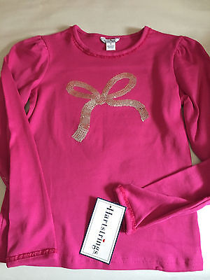 NWT  Hartstrings Girl's Pink Sparkle bow long sleeve Cotton shirt size 10 NWT