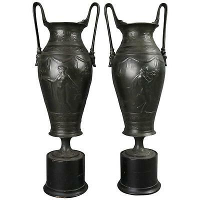 19th Century Pair of Antique Neoclassical Figural Cast Bronze Urns