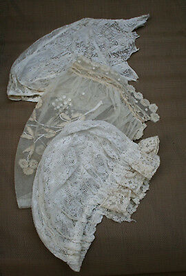 ~~~~~~~~~~~ANTIQUE VICTORIAN LACE BED CAPs 3 STYLEs uNIQUE SwEEt~~~~~~~~~~~