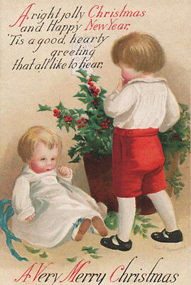 A/S ELLEN CLAPSADDLE ~ CUTE KIDS AWAIT CHRISTMAS & NEW YEAR'S Embossed POSTCARD
