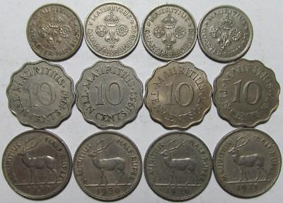 Mauritius Mixed Lot, 1947-1978, 12 Pieces, Copper-Nickel