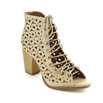 Women's Cut Out Lace Up Peep Toe Gladiator Ankle Booties Sandals BEIGE Size 9