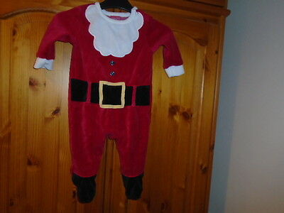 Cute baby red Father Christmas babygrow outfit, MINI CLUB, 3-6 months, excellent