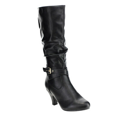 Women's Buckle Strap Slouchy Chunky Heel Knee High Boots BLACK Size 9