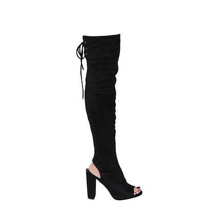 Women's Zip Backless Lace Up Chunk Heel Over The Knee Boots BLACK Size 7 1/2
