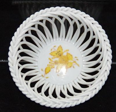 Herend Chinese Bouquet Yellow  Open Weave Bowl Herend Apponyi Yellow Bowl 7572