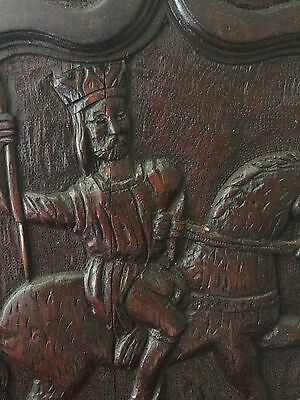 Antique Carved Gothic Oak Panel  King on Horseback
