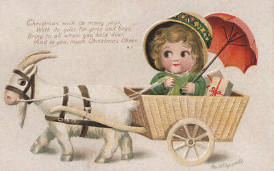A/s Ellen Clapsaddle ~ Cute Girl In Goat Driven Christmas Wagon Embossed Pc
