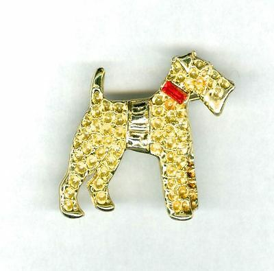Vintage Shimmering Gold Tone Airedale Welsh Fox Lakeland Terrier Dog Pin Unusual