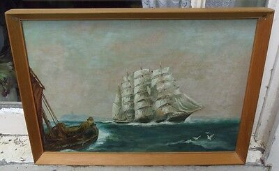 ORIGINAL OIL PAINTING OF A SAILING SHIP ON A CHOPPY SEA by WILLIAM T.B. HILL