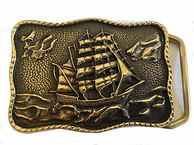 Vtg Solid Brass Sail Ship Belt Buckle Sailboat Nautical Pirate Boat Gold Ocean