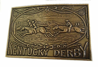 Vintage Kentucky Derby Belt Buckle Horse Racing Jockey Track Thoroughbred Gold