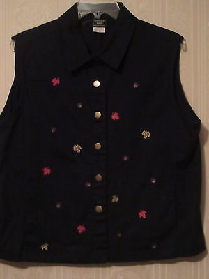 SOUTHERN LADY Size XL Black  w/ Multi-Colors Fall / Autumn Colorful Leaves Vest