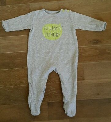 CUTE FUNNY BABYGROW BY MOTHERCARE SIZE 3-6 MONTHS, GREY UNISEX, always hungry