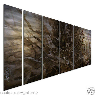 Metal Art Set of 7 Abstract Modern Wall Sculpture 'Fissures' by Michael Lang
