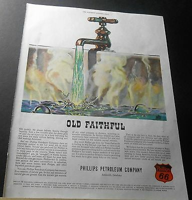 """1947 Phillips 66 Petroleum """"old Faithful"""" Natural Gas For Hot Water Art Print Ad"""