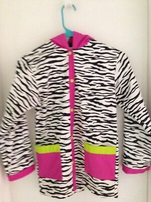 Girls Raincoat Size Small 6/6x Black & White Zebra Stripes Pink Accents