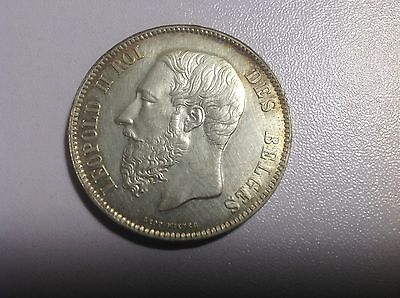 1868.  Position  A  Belgium Silver 5 Francs KM-24, Cleaned Almost Unc       L4