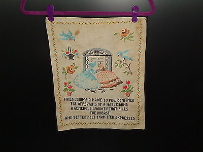 Vintage Embroidery of 19th Century Scene Two Ladies Friend Saying 1940's- 1950's