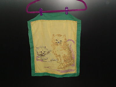 Vintage Embroidery of 2 Smiling Cats with Mischievous Thoughts 1940's- 1950's