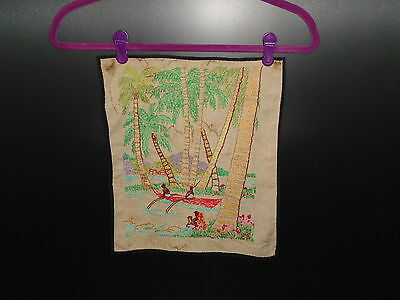 Vintage Embroidery of a Tropical Scene with Natives in a Canoe 1940's - 1950's