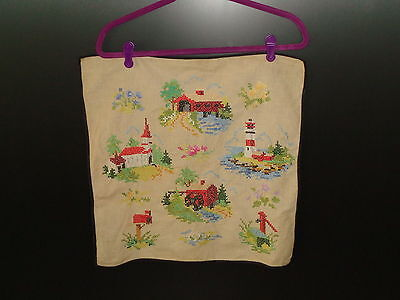 Vintage Embroidery of Covered Bridge, Lighthouse, Water Mill++ 1940's - 1950's
