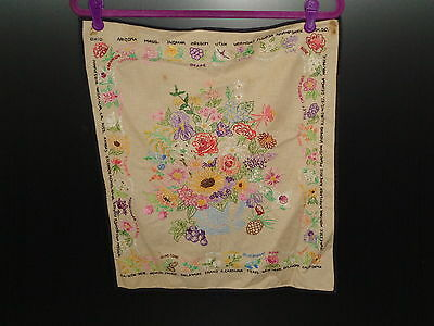 Vintage Embroidery of Floral Arrangement w/ State Flowers Border 1940's - 1950's