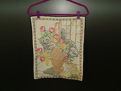 Vintage Embroidery of Two Cats in a Basket of Flowers 1940's - 1950's