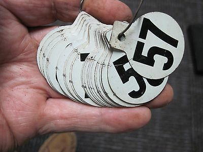 Small Tin Numbers Tags. Maybe Dairy Cow Ear Tags. 57-100.