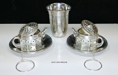 2 Sterling Tea Ball Strainers By Amcraft With Saucers And One Sterling Gigger