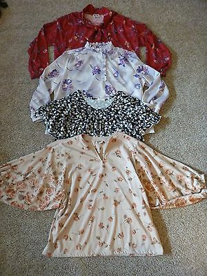 Lot of 4 vtg 70's Polyester Tops Blouses Sz 44 Shaker Sport~Ample Togs~Fire Isl