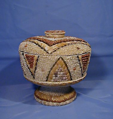 Incredible Folk Art Sea Shell Shellwork Encrusted Lidded Aluminum Container