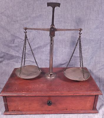 Antique 1800's Portable Brass Analytical Apothecary Jewelry Coin Scale Balance