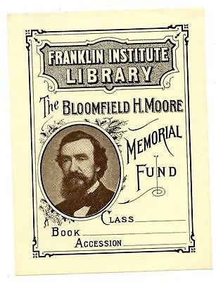 Franklin Institute Library Antique Bookplate Engraving Etching Bloomfield Moore