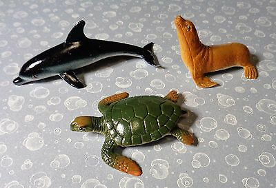 Plastic Sea Turtle, Dolphin and Walrus - 2 & 3 inches long