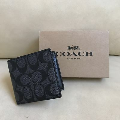 NEW Coach Signature PVC Men Wallet Charcoal/Black F75083