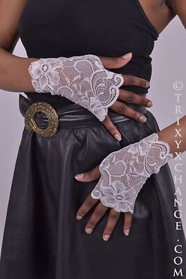Ivory Wrist Lace Fingerless Gloves Arm Cuff Cover Wedding Bridal Lolita Cosplay