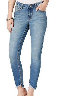 EARL NEW Women's Size 4 Assymeteical Cut Off Slim Skinny Ankle Jeans $54 #004