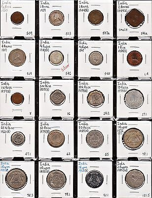 """""""page"""" Of Twenty 20 Different India Type Coins!"""