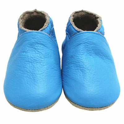 Mejale Baby Soft Sole Leather Toddler Infant Shoes Crawling Moccasins Sky Blue